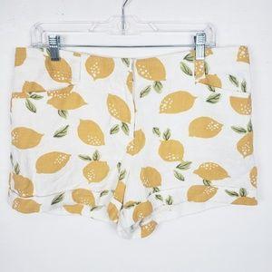 Loft Linen Blend High rise lemon print shorts